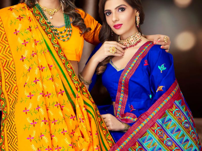 Embroidery Dyed Sarees